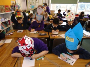 On World Maths Day we did lots of maths wearing our personally designed 'Maths Hats'.